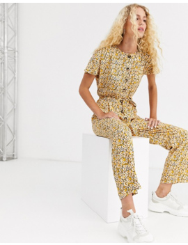 Asos Design Button Front Jumpsuit In Vintage Floral Print by Asos Design