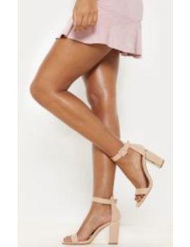 Nude Metal Heel Detailed Block Heel Sandal by Prettylittlething