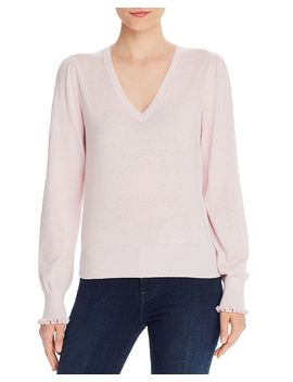 Ruffle Cuff V Neck Sweater   100% Exclusive by Rebecca Taylor