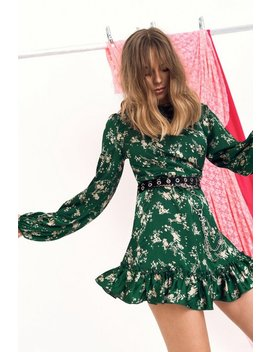 Don't Waist My Tie Satin Floral Dress by Nasty Gal