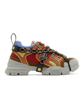 Multicolor Removable Crystals Flashtrek Sneakers by Gucci