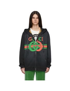 Reversible Black Logo Zip Up Hoodie by Gucci