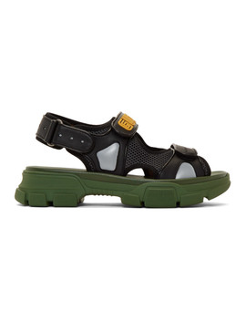 Black & Green Aguru Sandals by Gucci