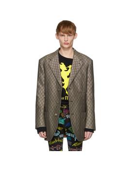 Brown & White Gg Supreme Wool Blazer by Gucci