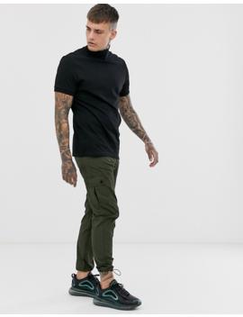 Asos Design – Schwarzes T Shirt Mit Geripptem Rollkragen by Asos