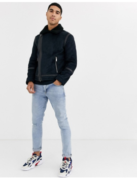 Burton Menswear Shearling Jacket In Black by Burton Menswear London