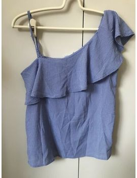Supre Blouse Top Si Ze 8 Blue White Pinstriped Ruffles by Ebay Seller