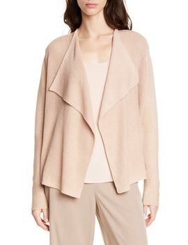 Drape Front Organic Linen & Cotton Cardigan by Eileen Fisher