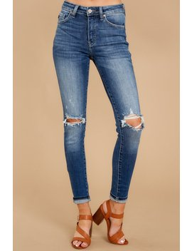 Ask Me Again Medium Wash Distressed Skinny Jeans by Kan Can Premier