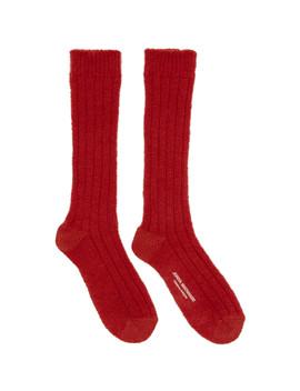 Red Wool Socks by Junya Watanabe