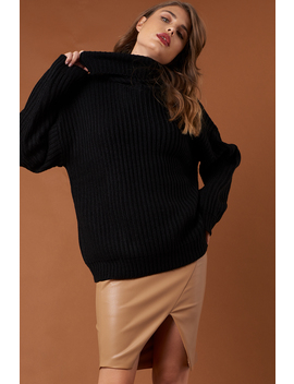 Big Chunky Knitted Sweater Noir by Na Kd Trend