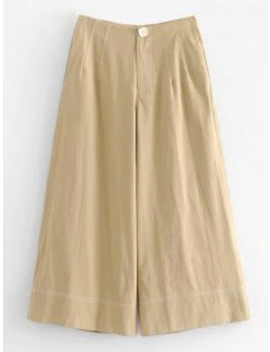 Sale Zipper Pocket Culotte Pants   Tan M by Zaful