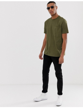 Asos Design Organic Relaxed T Shirt With Pocket In Khaki by Asos Design