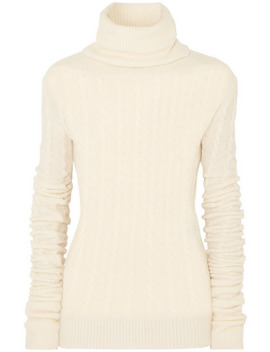 Sofia Cable Knit Alpaca Blend Turtleneck Sweater by Jacquemus