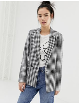 Pull&Amp;Bear Blazer In Black Gingham Print by Pull&Bear