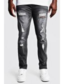 Big & Tall Skinny Fit Jeans All Over Rips by Boohoo Man