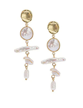 Jan Kuo Mother Of Pearl Clover Drop Earrings by Saks Fifth Avenue