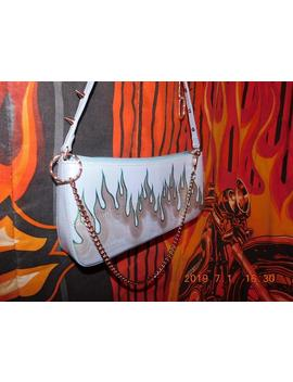Handpainted Flames Y2k Spiked Mini Purse With Chain, Inferno Bitch!!!!! by Etsy