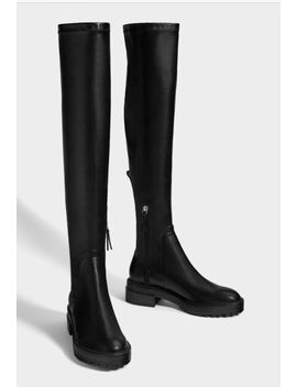 New Flat Boots With Track Soles In Black Size 37 Bershka by Ebay Seller