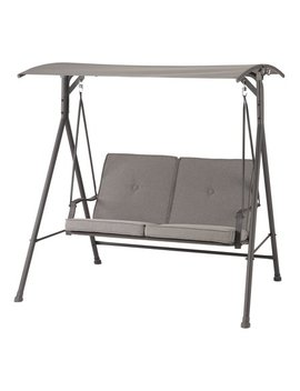 Mainstays Holten Ridge Two Seat Canopy Patio Swing With Gray Cushions by Mainstays