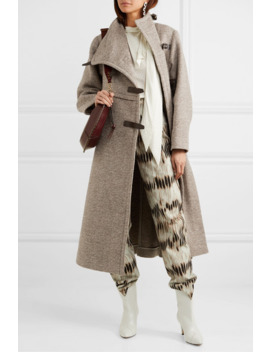 Natacha Leather Trimmed Wool Blend Coat by Isabel Marant