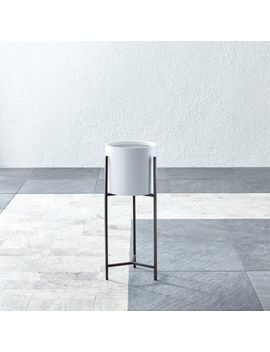 Dundee White Round Planter With Short Stand by Crate&Barrel