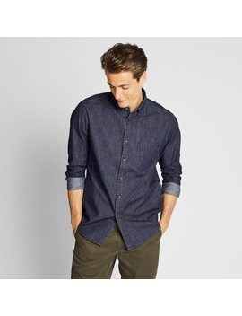 Men Denim Regular Fit Long Sleeve Shirt (Online Exclusive) by Uniqlo