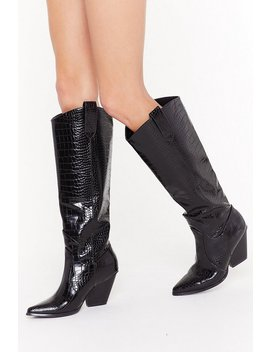 Faux Croc Knee High Western Boot by Nasty Gal
