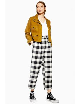 Black And White Gingham Tapered Trousers by Topshop