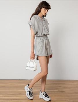 Grey Zip Sweat Romper by Pixie Market