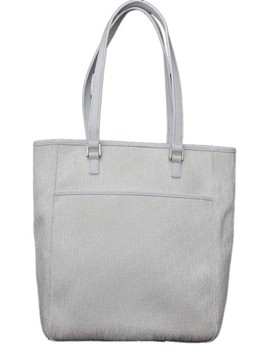 Monogram White Canvas & Leather Tote by Dior