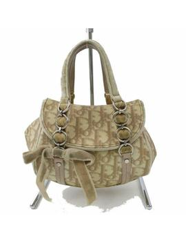 Monogram Trotter Signature Oblique Bow Chain Flap Pvc 870745 Beige Coated Canvas Shoulder Bag by Dior