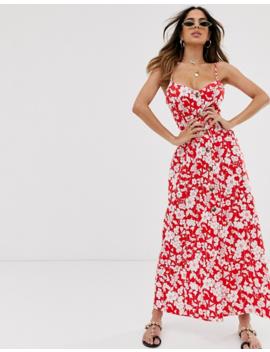 Asos Design   Robe Longue Boutonnée   Rouge à Fleurs by Asos Design