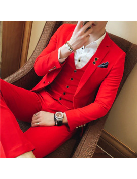 Thorndike Red 3 Piece Suits Fashion New Mens Casual Boutique Business Suit Male Wedding Groom Dress Blazer(Jacket+Pants+Vest) by Ali Express.Com