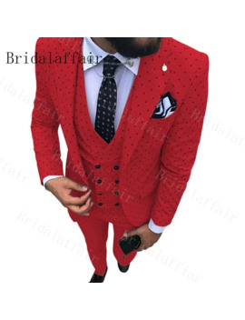 Bridalaffair Mens Red Suits With Dot Three Pieces Men Dress Suits Casual Office Business Suits For Wedding (Blazer+Vest+Pants) by Ali Express.Com