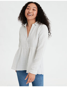 Ae Plaid Babydoll Button Up Shirt by American Eagle Outfitters
