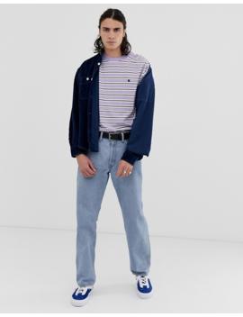 Carhartt Wip Huron Stripe Short Sleeve T Shirt In Purple by Carhartt Wip