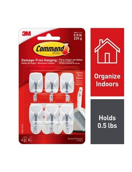 Command Small Sized Wire Hooks Value Pack (6 Hooks 8 Strips) White by Command