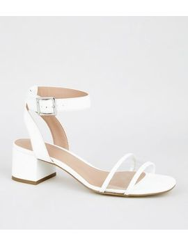 Girls White Clear Strap Block Sandals by New Look