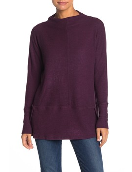 Mini Mock Neck Ribbed Exposed Seam T Shirt by Ady P