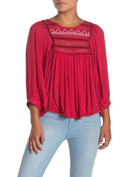 Cyprus Avenue Embroidered 3/4 Sleeve Peasant Blouse by Free People