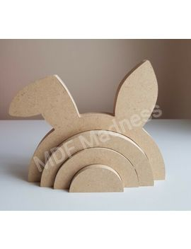 Mdf Craft Shape. Wooden 3 D Rainbow Bunny / Rabbit. 18 Mm Free Standing 20 Cm Long by Ebay Seller