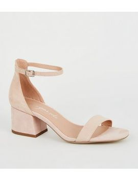 Nude Suedette Flared Low Block Heels by New Look