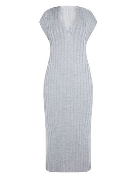 Grey Ribbed V Neck Midi Knitted Dress by Prettylittlething