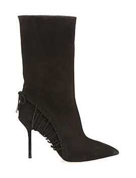 All Mine Suede Point Toe Stiletto Booties by Aquazzura