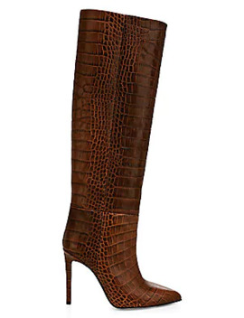 Knee High Croc Embossed Leather Boots by Paris Texas