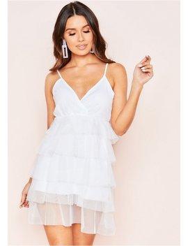 Tiff White Layered Mesh Mini Dress by Missy Empire