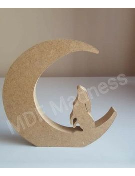 Mdf Craft Shape. Wooden Hare On Moon. 18 Mm Free Standing. 15 Cm High by Ebay Seller