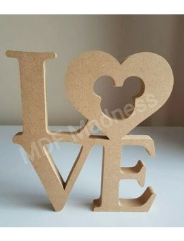 Mdf Craft Shape. Love With Mickey Mouse Cut Out. 18 Mm Free Standing. 20 Cm High by Ebay Seller