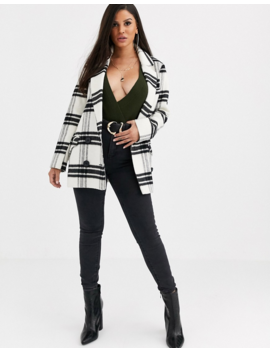 Asos Design Petite Double Breasted Check Coat by Asos Design